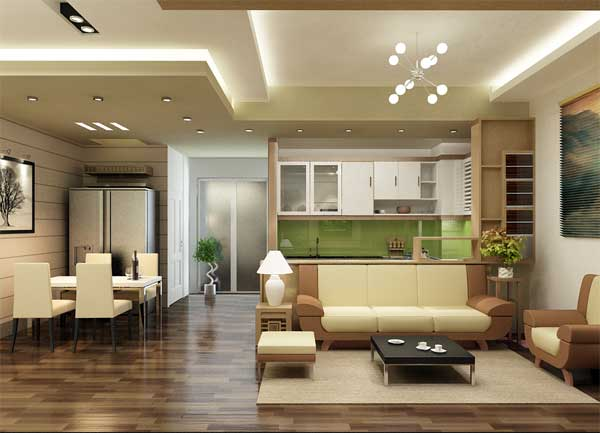 Phòng khách- Làm trần thạch cao cho nhà chung cư
