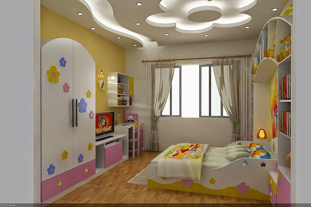 làm trần thạch cao cho phòng ngủ trẻ em. 2