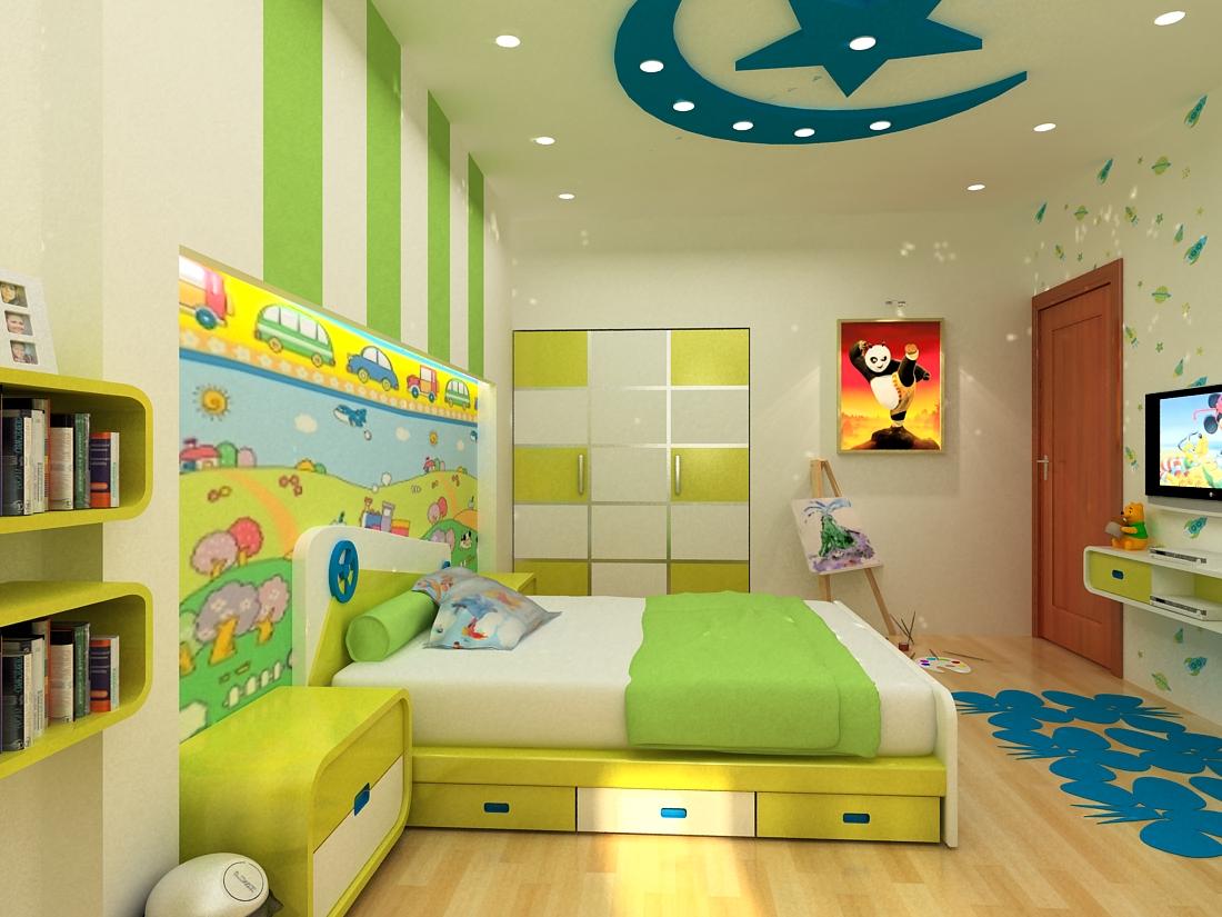 làm trần thạch cao cho phòng ngủ trẻ em. 3