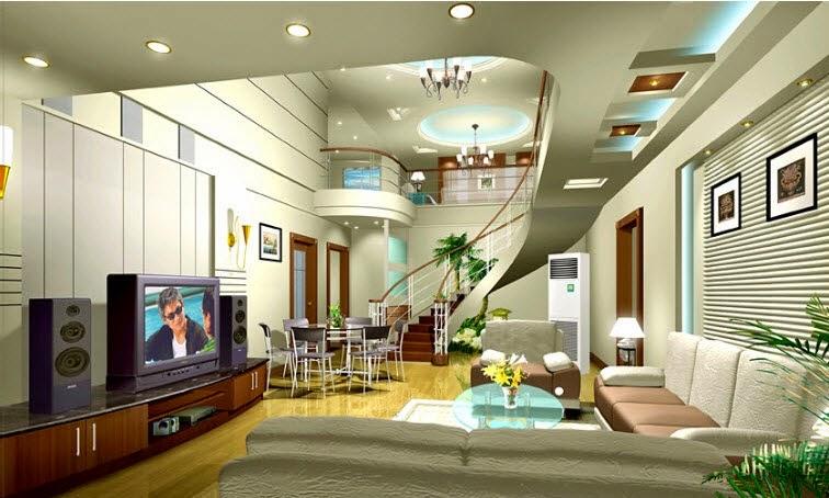 Làm trần thạch cao giật cấp cho phòng khách. 2