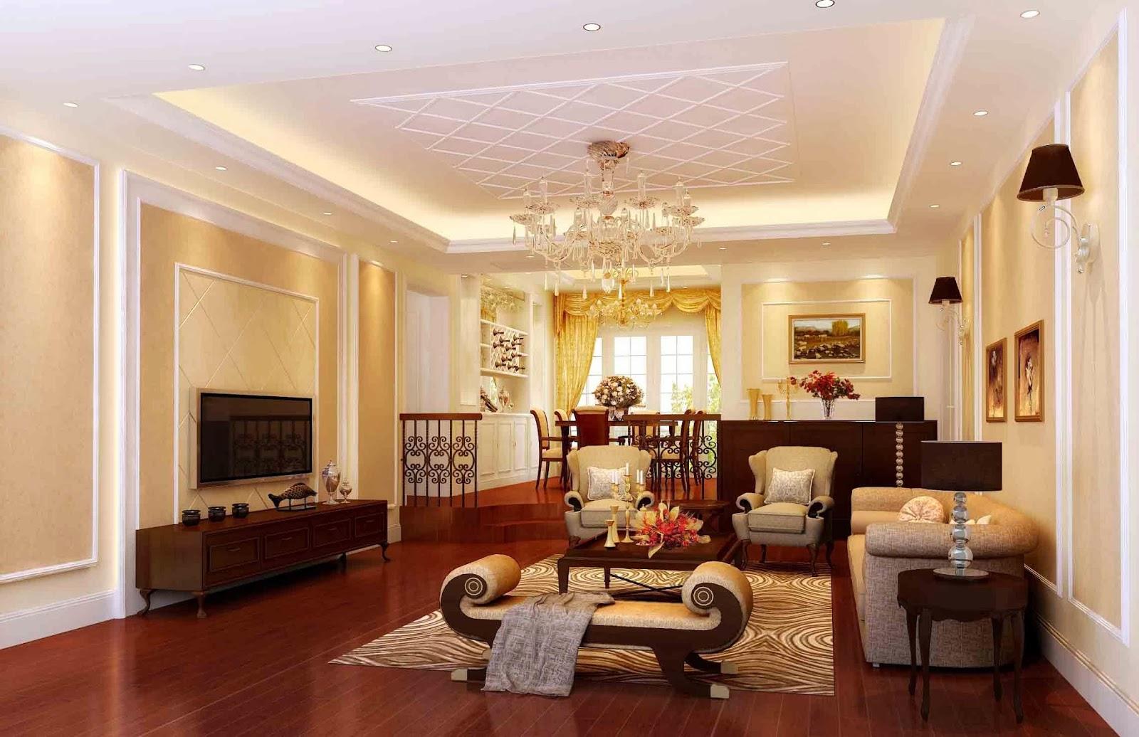 Mẫu trần thạch cao đẹp cho phòng khách sang trọng. 4