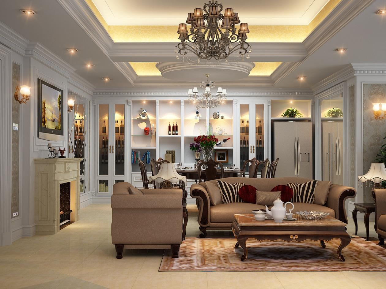 Mẫu trần thạch cao đẹp cho phòng khách sang trọng. 5