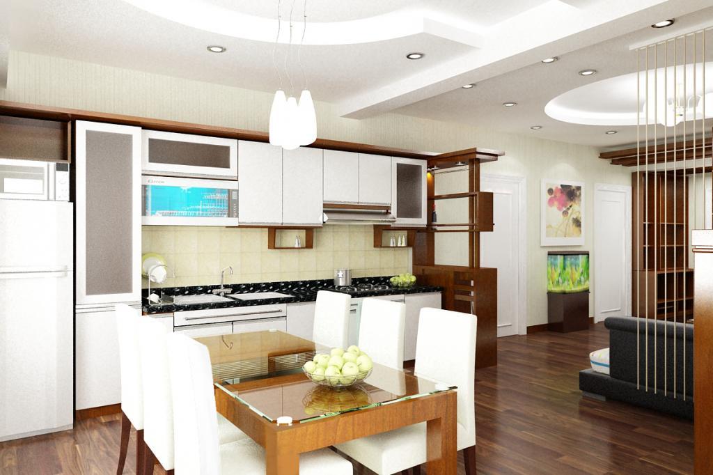 Thi công trần thạch cao cho phòng bếp gia đình phong cách hiện đại