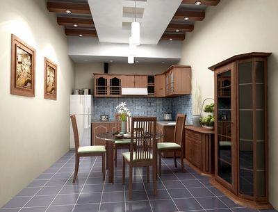 Thi công trần thạch cao cho phòng bếp gia đình phong cách Á Đông