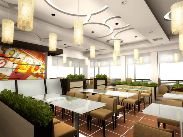 thi công trần thạch cao cho quán cafe hút khách. 5