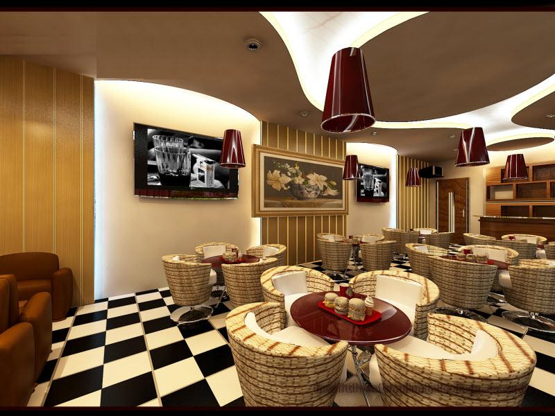 thi công trần thạch cao cho quán cafe hút khách. 6