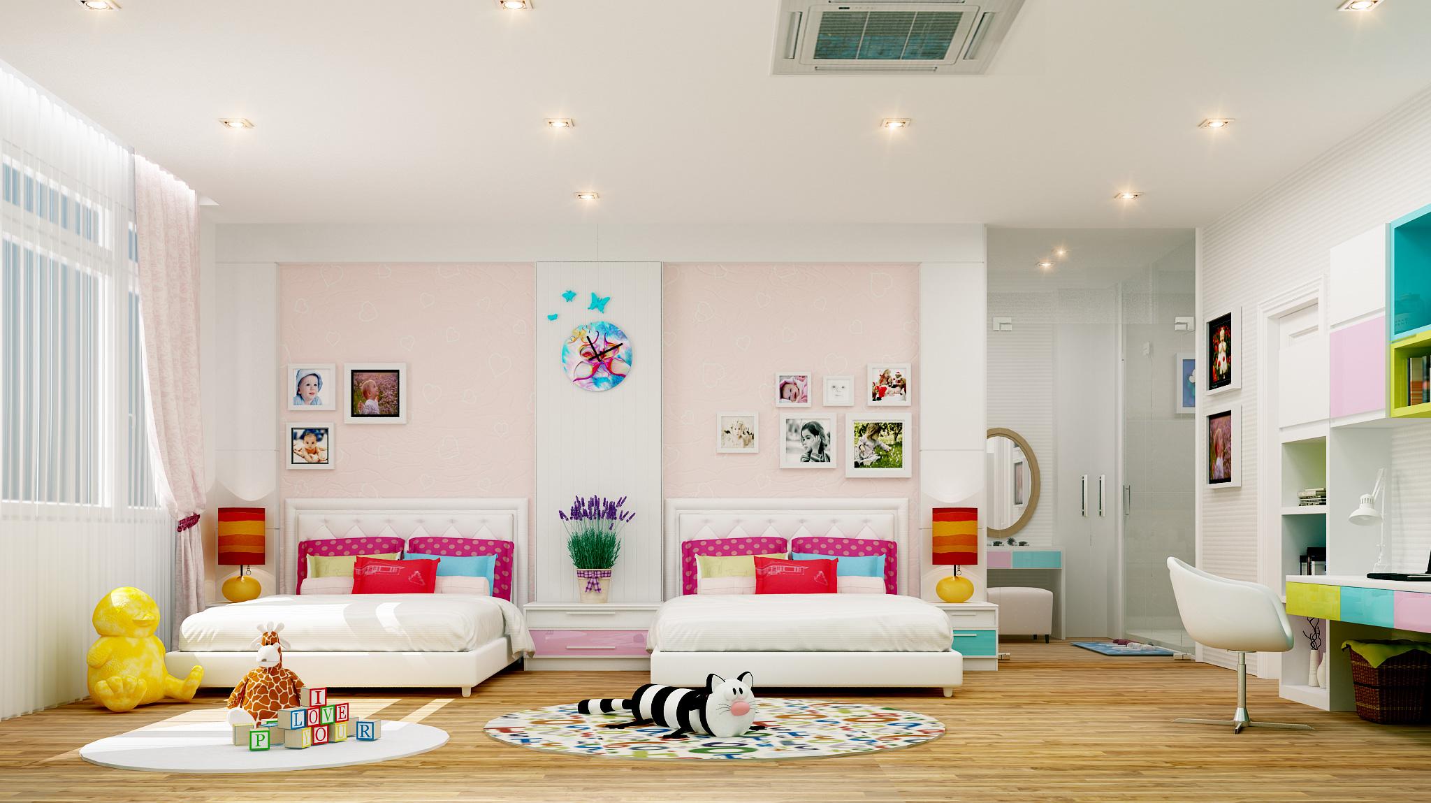 Làm trần thạch cao phòng ngủ trẻ em. 2