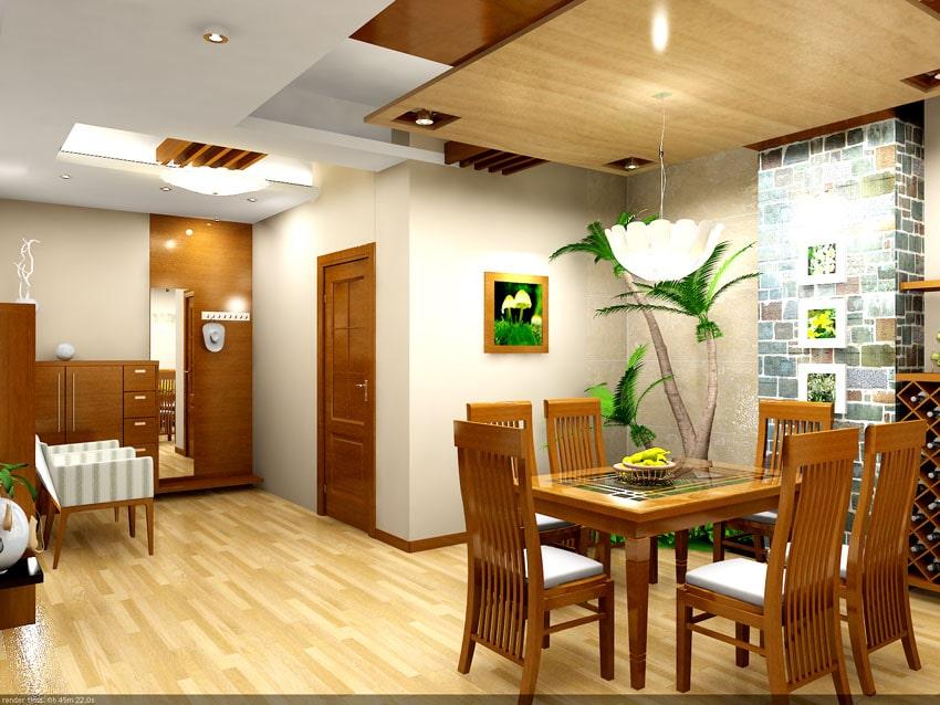 Mẫu trần thạch cao kết hợp gỗ cho phòng ăn