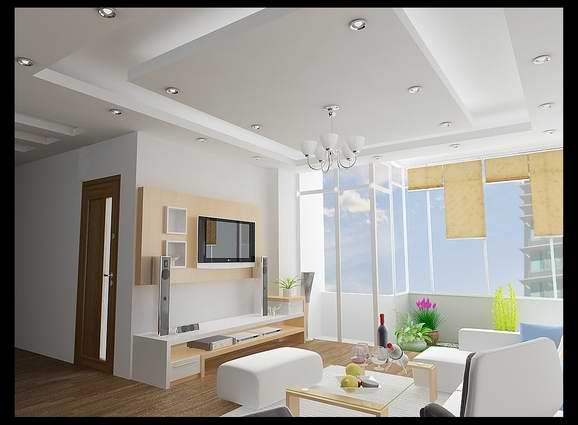 Thiết kế trần thạch cao cho phòng khách nhỏ đẹp. 4