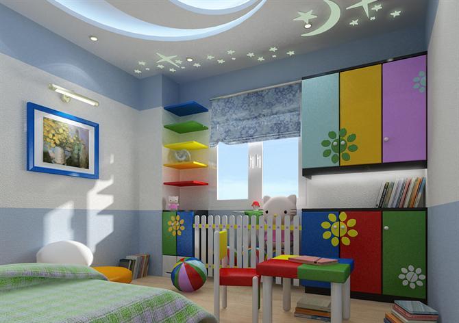Phòng ngủ của bé trở nên độc đáo nhờ trần thạch cao. 2