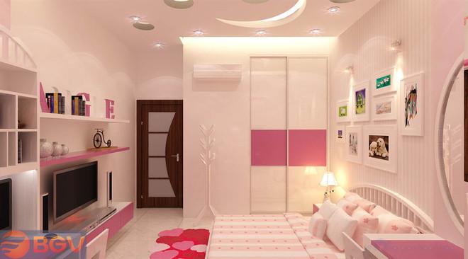 Phòng ngủ của bé trở nên độc đáo nhờ trần thạch cao. 1