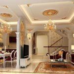 Thi công trần thạch cao cho phòng khách sang trọng