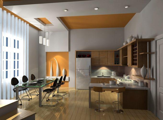 Thiết kế trần thạch cao phòng bếp nhà ống hiện đại - 1