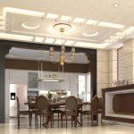 Thiết kế trần thạch cao phòng bếp nhà ống hiện đại