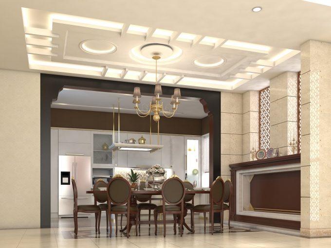 Thiết kế trần thạch cao phòng bếp nhà ống hiện đại - 2