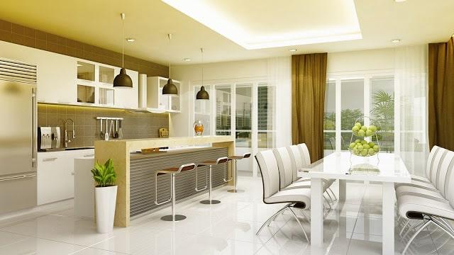 Thiết kế trần thạch cao phòng bếp nhà ống hiện đại - 3