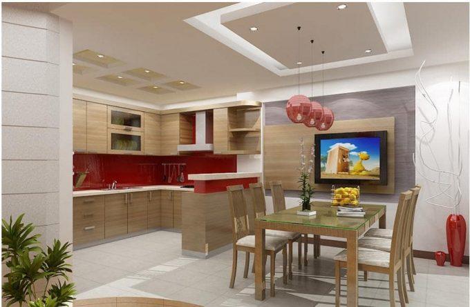 Thiết kế trần thạch cao phòng bếp nhà ống hiện đại - 4