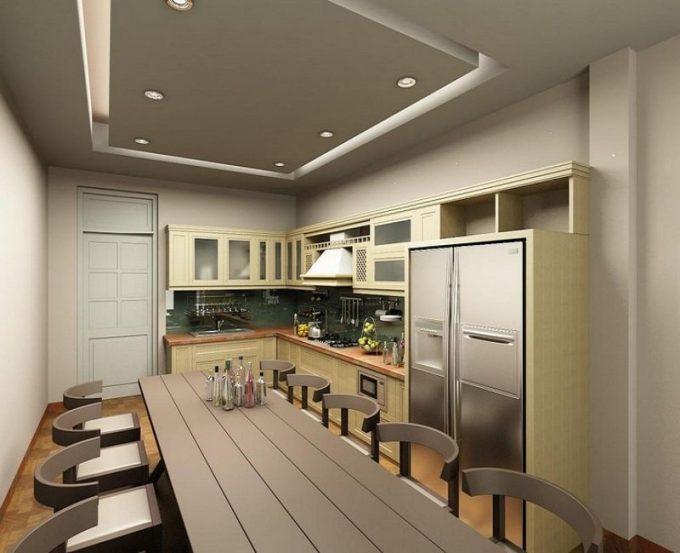 Thiết kế trần thạch cao phòng bếp nhà ống hiện đại - 5