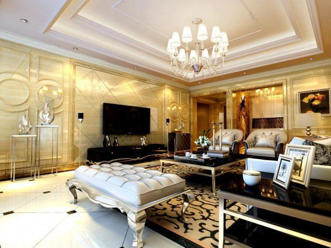 Thiết kế trần thạch cao cho phòng khách biệt thự sang trọng - 1