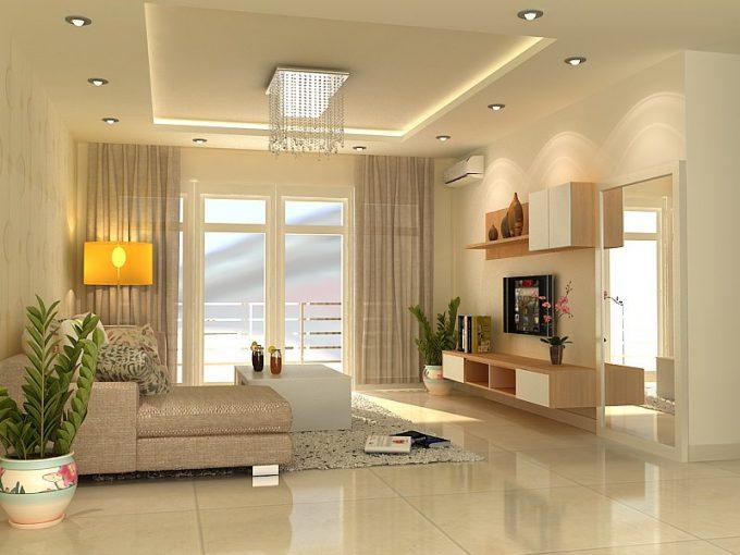 Trần biệt thự đẹp chất liệu thạch cao cho phòng khách