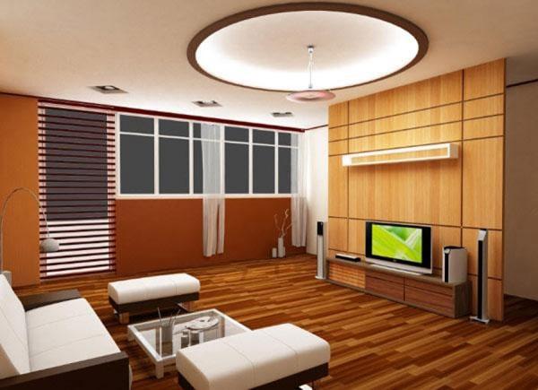 Thiết kế trần thạch cao hình khối tròn cho phòng khách nhà phố