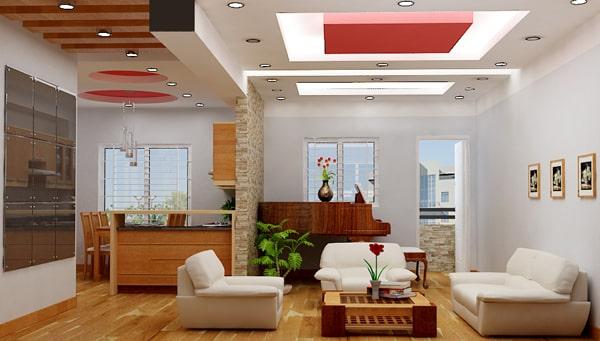 Thiết kế trần thạch cao hình khối vuông cho phòng khách nhà phố