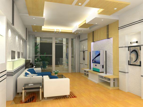 Thiết kế trần thạch cao đẹp cho phòng khách nhà phố - 2