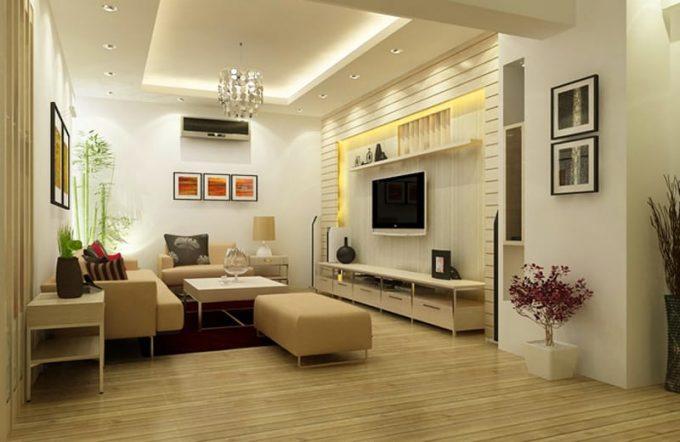 Thiết kế trần thạch cao giật cấp cho phòng khách nhà phố