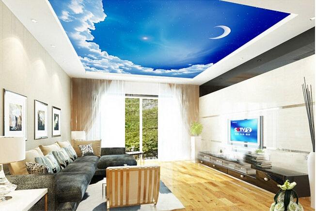 Thiết kế trần thạch cao 3D cho nhà phố đẹp ấn tượng - 2