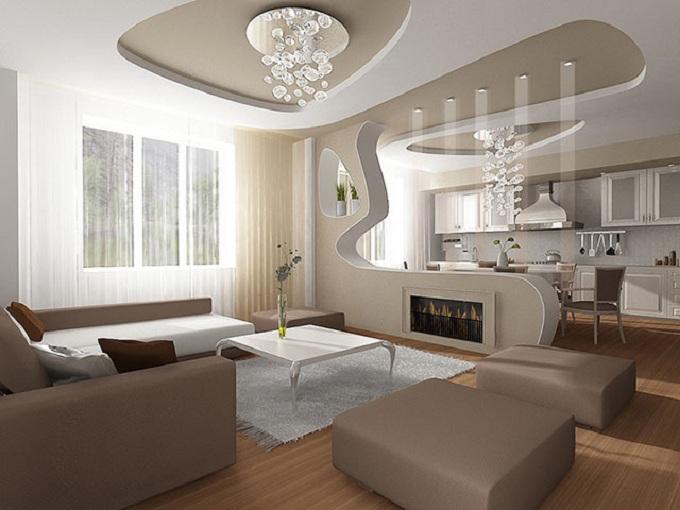 Trần thạch cao đẹp cho phòng khách hiện đại