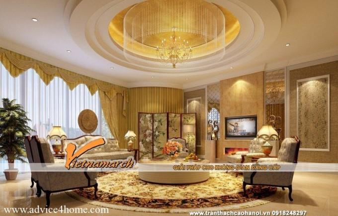 Trần thạch cao phòng khách cổ điển-8