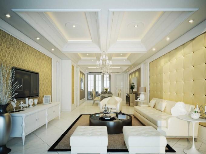 Trần thạch cao phòng khách nhà ống đẹp - mẫu 1