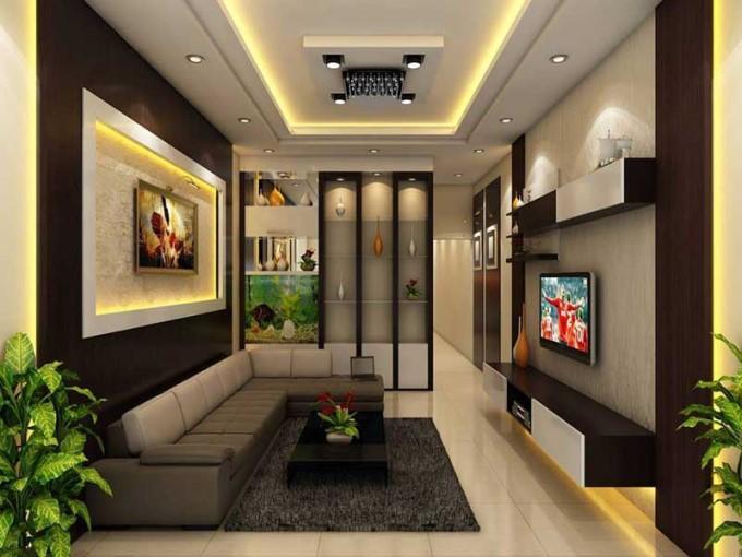Trần thạch cao phòng khách nhà ống đẹp - mẫu 2