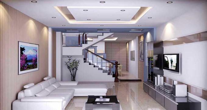Trần thạch cao phòng khách nhà ống đẹp - mẫu 3