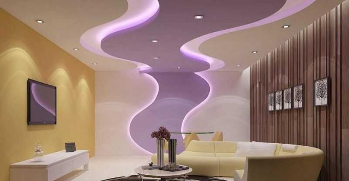 Trần thạch cao phòng khách nhà ống đẹp - mẫu 4